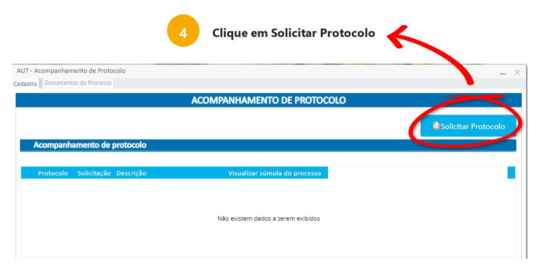 4: Clique em Solicitar Protocolo.